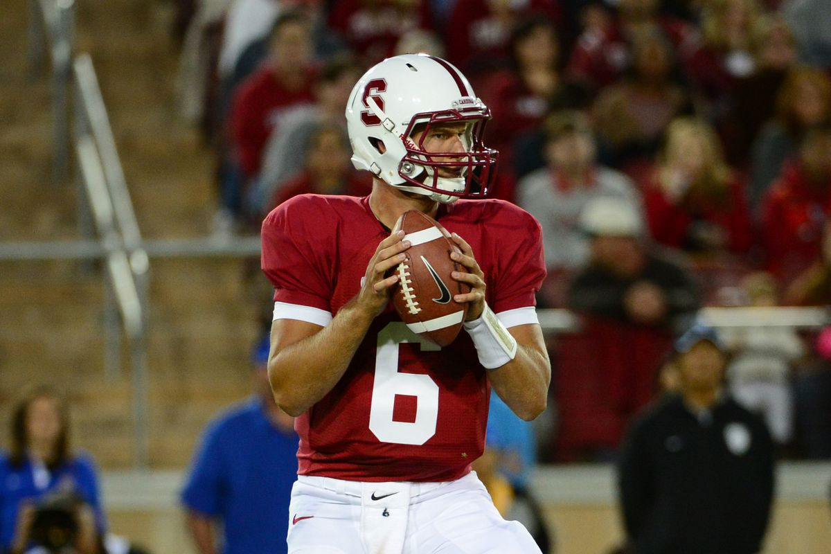 August 31, 2012; Stanford, CA, USA; Stanford Cardinal quarterback Josh Nunes (6) looks to pass the ball during the second quarter against the San Jose State Spartans at Stanford Stadium. Mandatory Credit: Kyle Terada-US PRESSWIRE