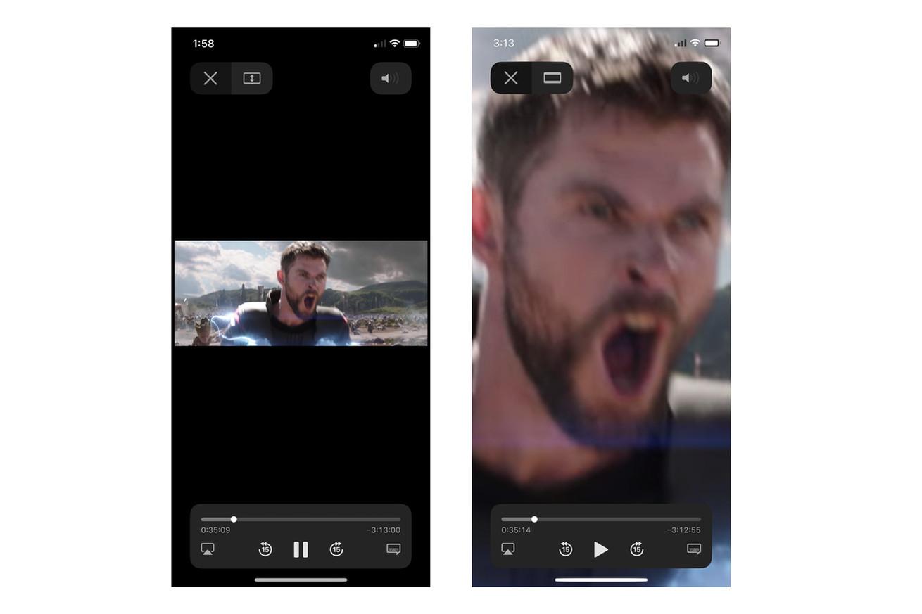 Default playback Apple's iOS 12.3 TV app (content has been edited back into screenshots)