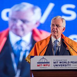 Elder D. Todd Christofferson a member of the Quorum of Twelve Apostles for The Church of Jesus Christ of Latter-day Saints  speaks after receiving the Philosopher Saint Shri Dnyaneshwara World Peace Prize-2017, during an award ceremony at the MIT World Peace university in Pune, Maharashtra, India on August 14, 2017