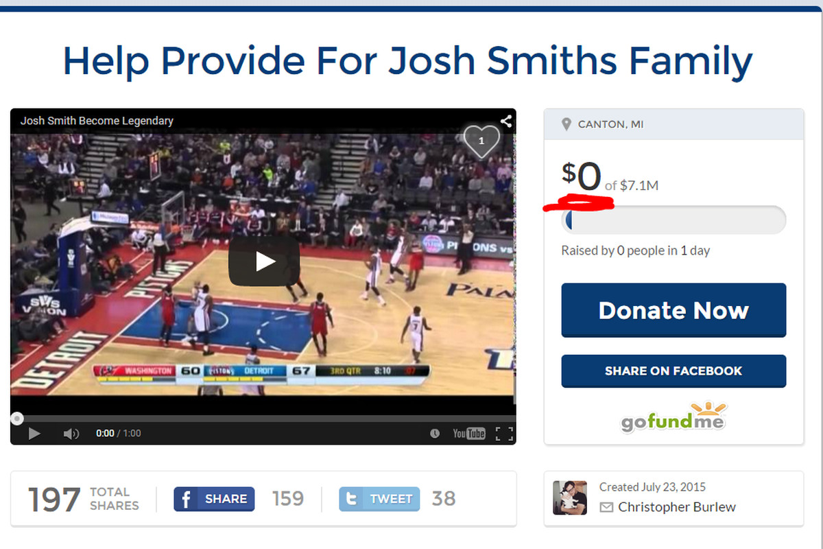 Screen shot of Josh Smith's Go Fund Me page