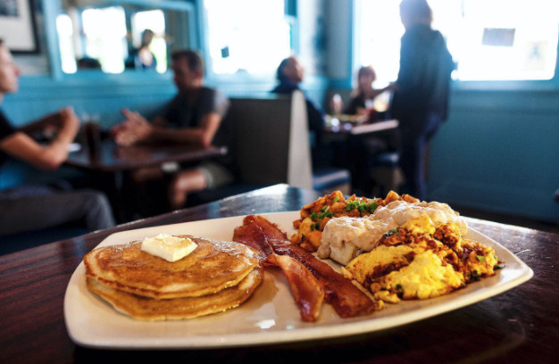 Pancakes, bacon, and eggs at the OP Cafe.