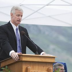 BYU President Kevin Worthen speaks during the groundbreaking ceremony for a new engineering building in Provo on Monday, May 9, 2016. The new building was entirely funded by donors.