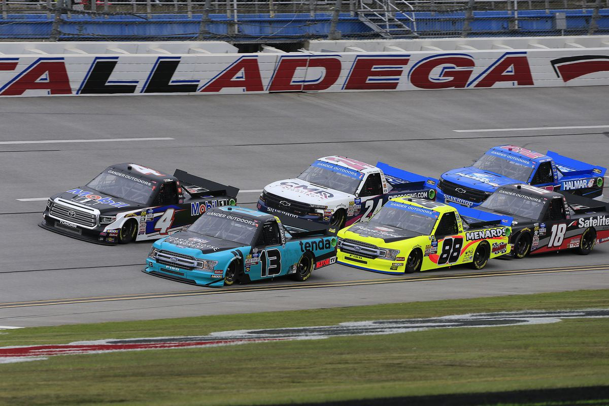 General race action during the NASCAR Gander Outdoors Truck Series Sugarlands Shine 250 race on October 12, 2019 at the Talladega Superspeedway in Talladega, Alabama.