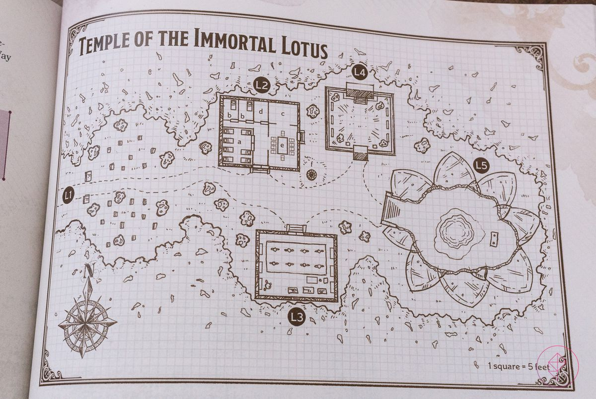 A sample of a map from Candlekeep Mysteries. It's monochrome.