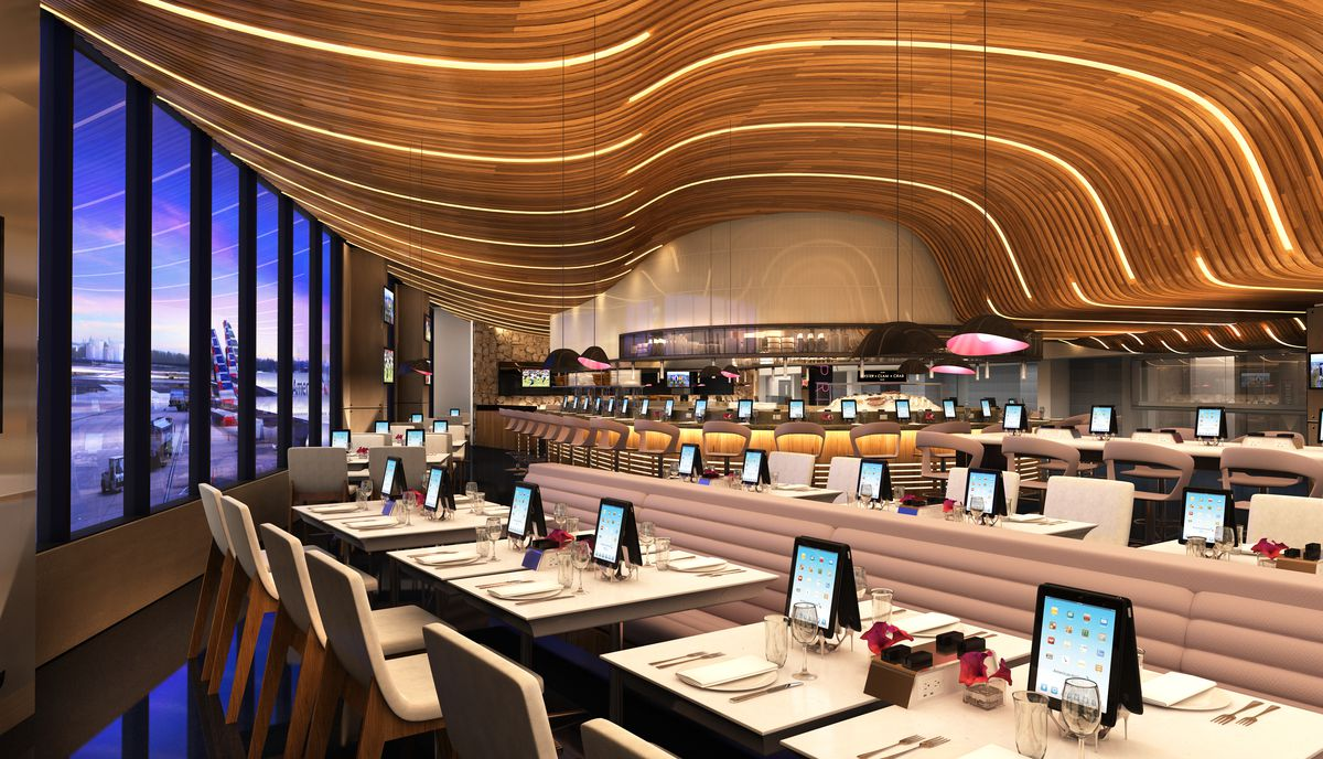 restaurant with curved ceiling inside an airport