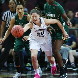 Brigham Young Cougars guard Cassie Broadhead (20) comes up with the ball from San Francisco Lady Dons forward Hashima Carothers (44) during the WCC tournament championship in Las Vegas Tuesday, March 8, 2016. San Francisco won 70-68.