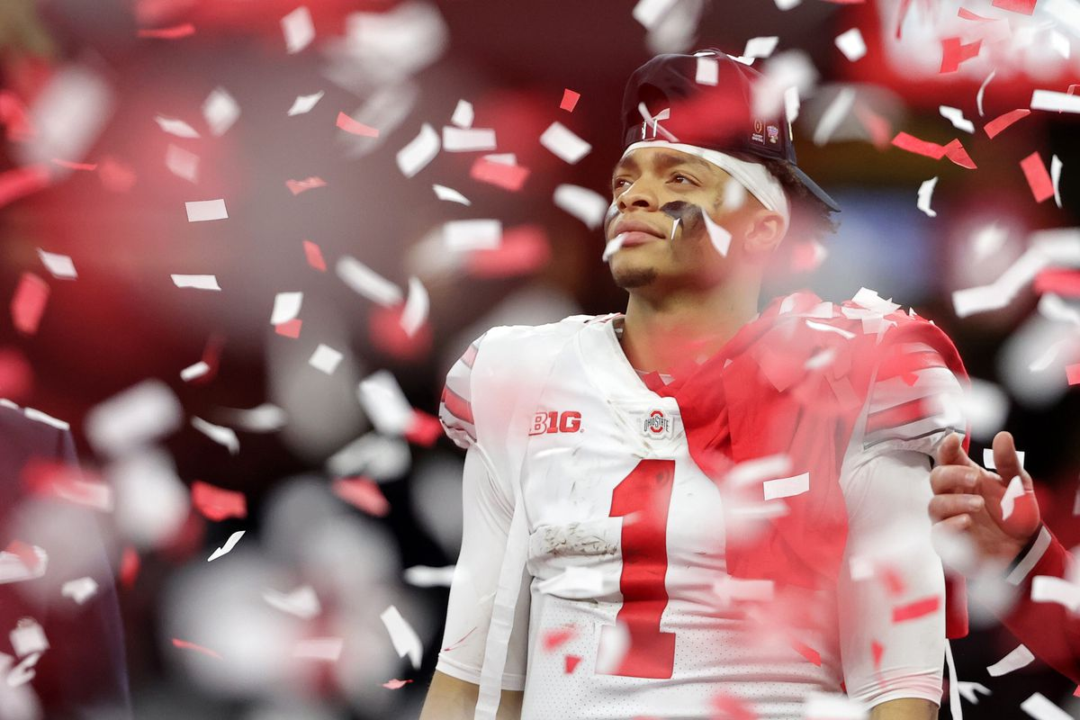 Ohio State Buckeyes quarterback Justin Fields celebrates after defeating the Clemson Tigers at Mercedes-Benz Superdome.