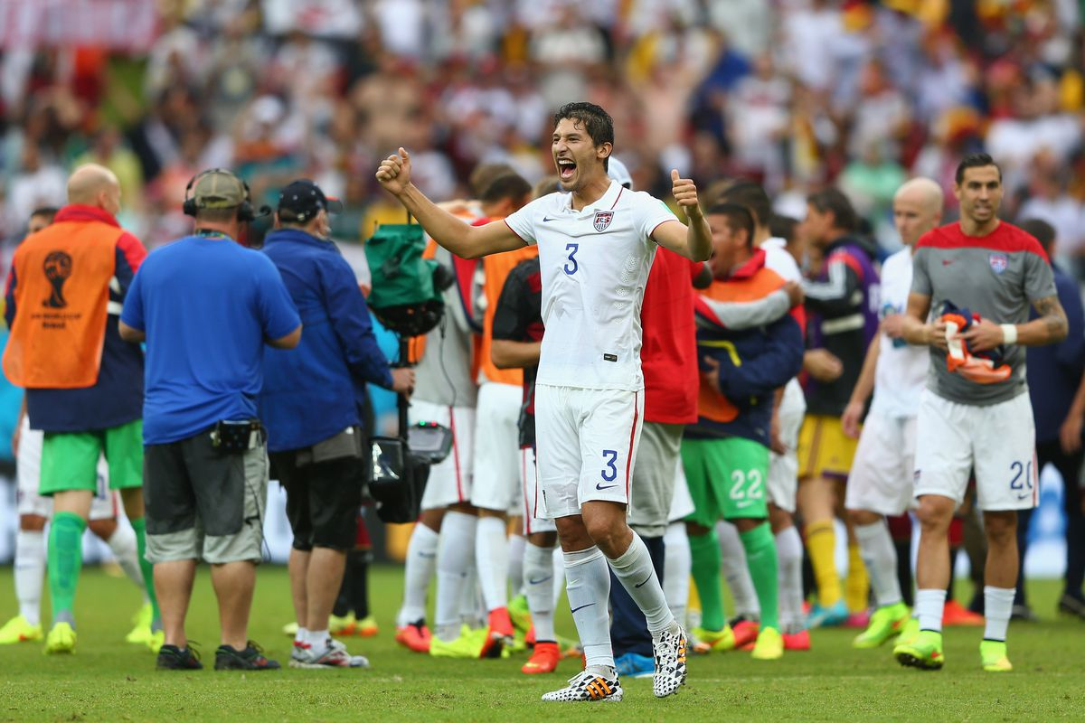 Omar Gonzalez reacts after advancing to the knockout round of the 2014 World Cup.