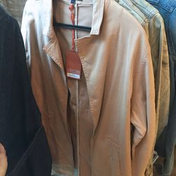 Relaxed fit cropped trench, $125
