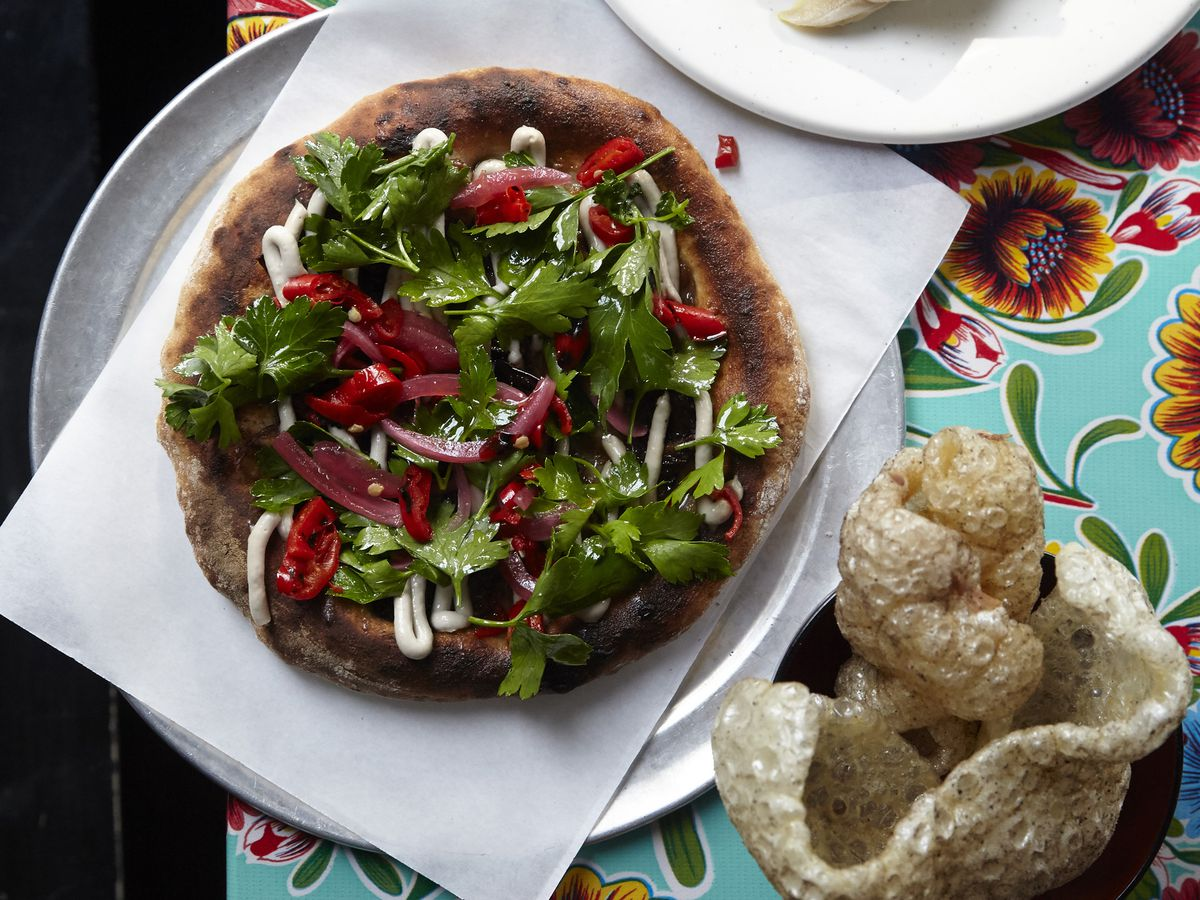 lamb offal flatbread at Black Axe Mangal, one of London's most iconic dishes