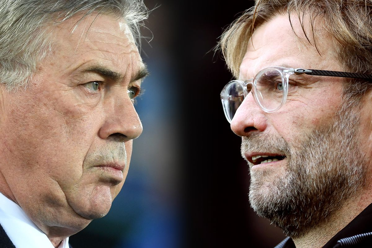 Image shows a composite of Ancelotti's face on the left and Klopp's face on the right. Both appear serious.