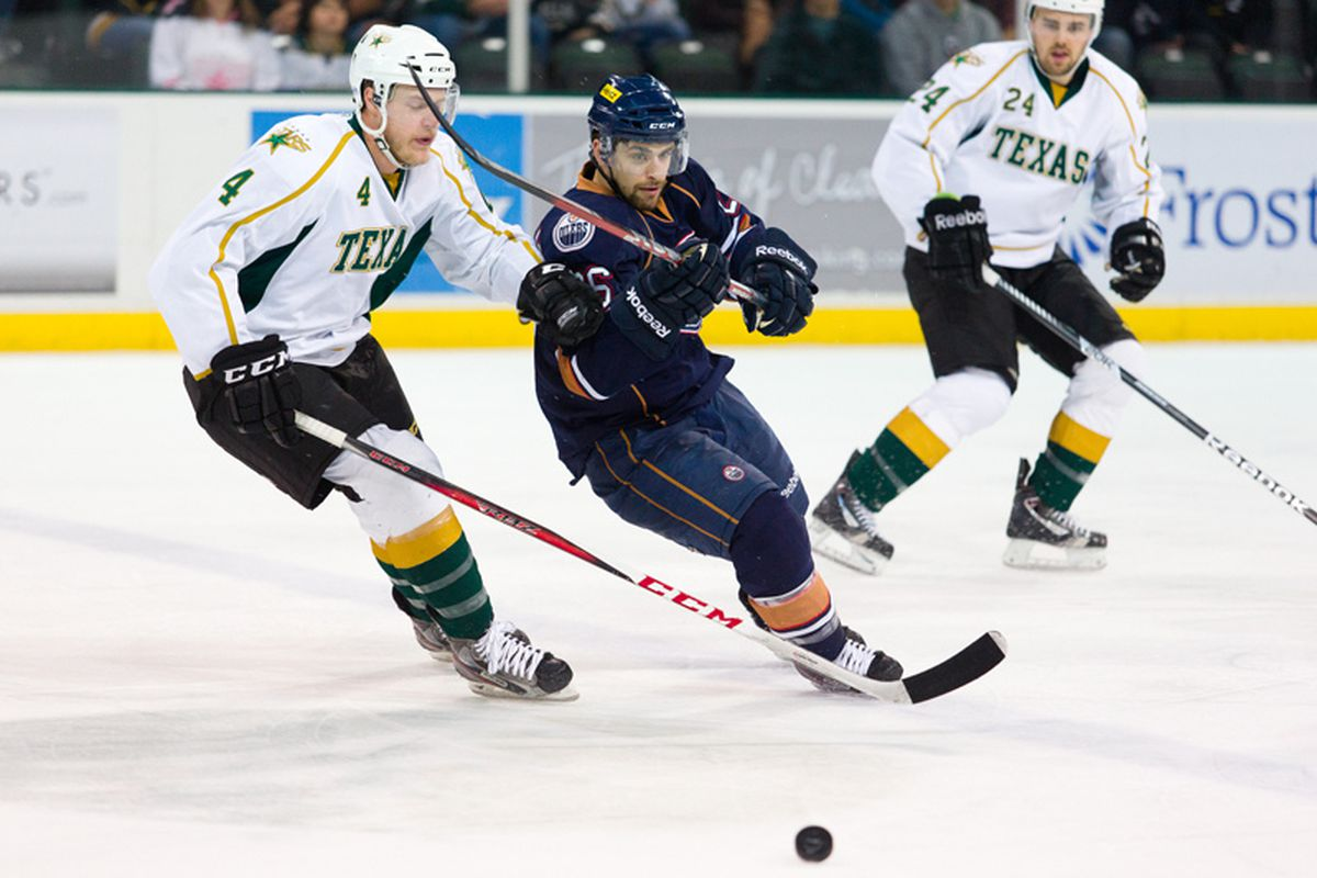 Kevin Connauton (#4) and Cameron Gaunce (#24) take on the OKC Barons on Thursday, May 9, 2013.