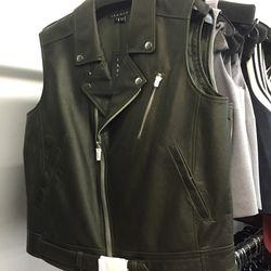 Leather moto vest, $449 (was $855)