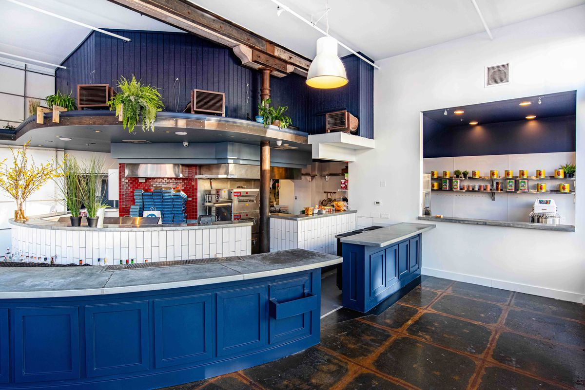 View of the open kitchen at Square Pie Guys in Oakland