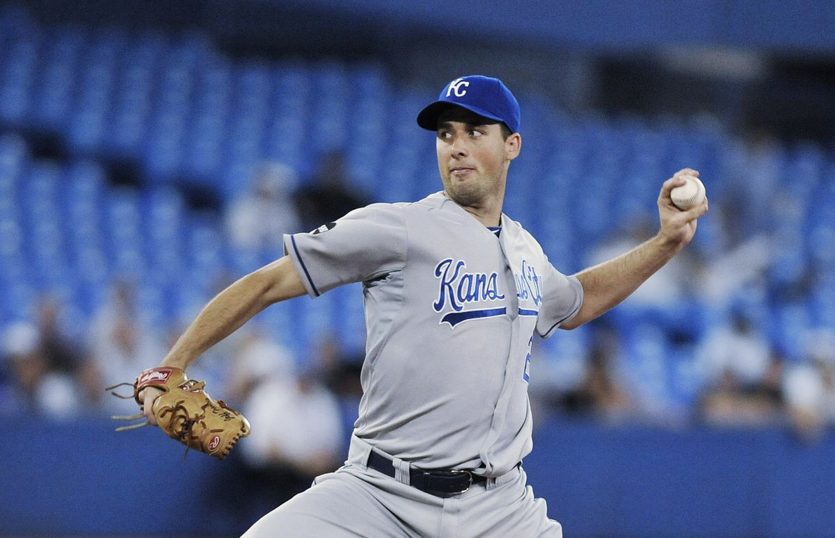 Jeff Francis #26 of the Kansas City Royals delivers a pitch during MLB game action against the Toronto Blue Jays August 25, 2011 at Rogers Centre in Toronto, Ontario, Canada.