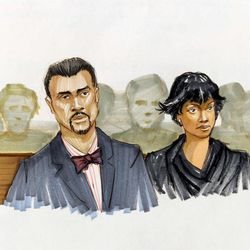This courtroom sketch shows Jennifer Hudson right, and her fiance David Otunga looking on in the courtroom during the first day of William Balfour's murder trial at the Cook County Criminal Court in Chicago, Monday, April 23, 2012. Balfour is charged in the 2008 murder of the mother, brother and nephew of Oscar winner Jennifer Hudson.