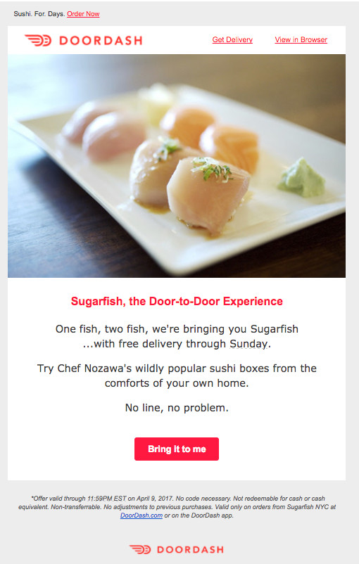 DoorDash Sugarfish promo