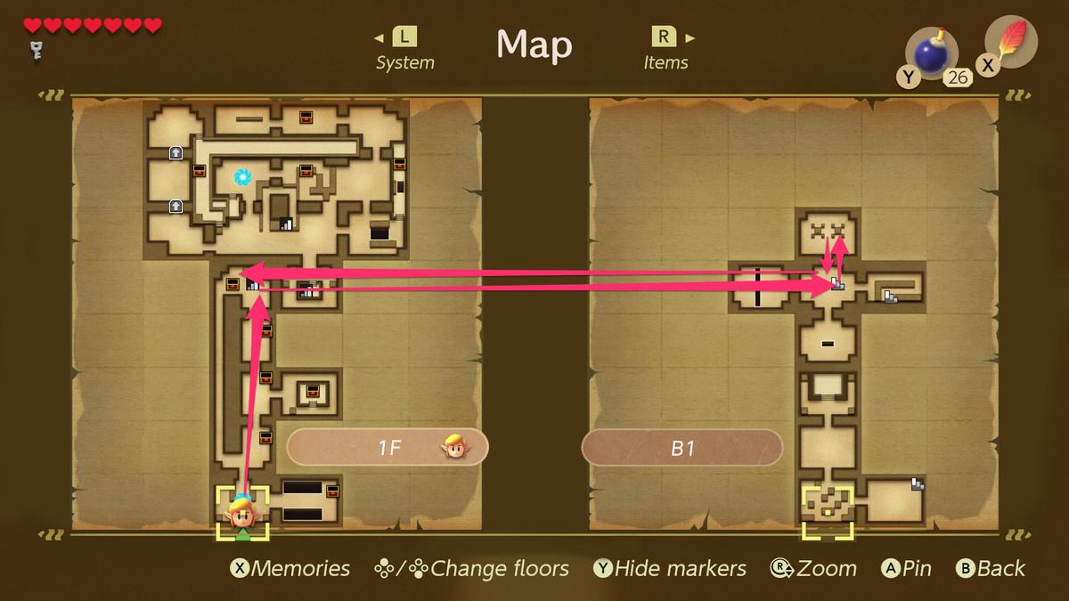 Link's Awakening Key Cavern path to the Stone Beak