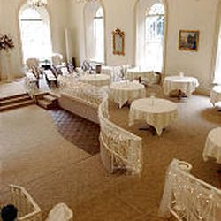 Dining tables in the wedding-reception area now sit on what at one time was considered the finest dance floor in the valley.