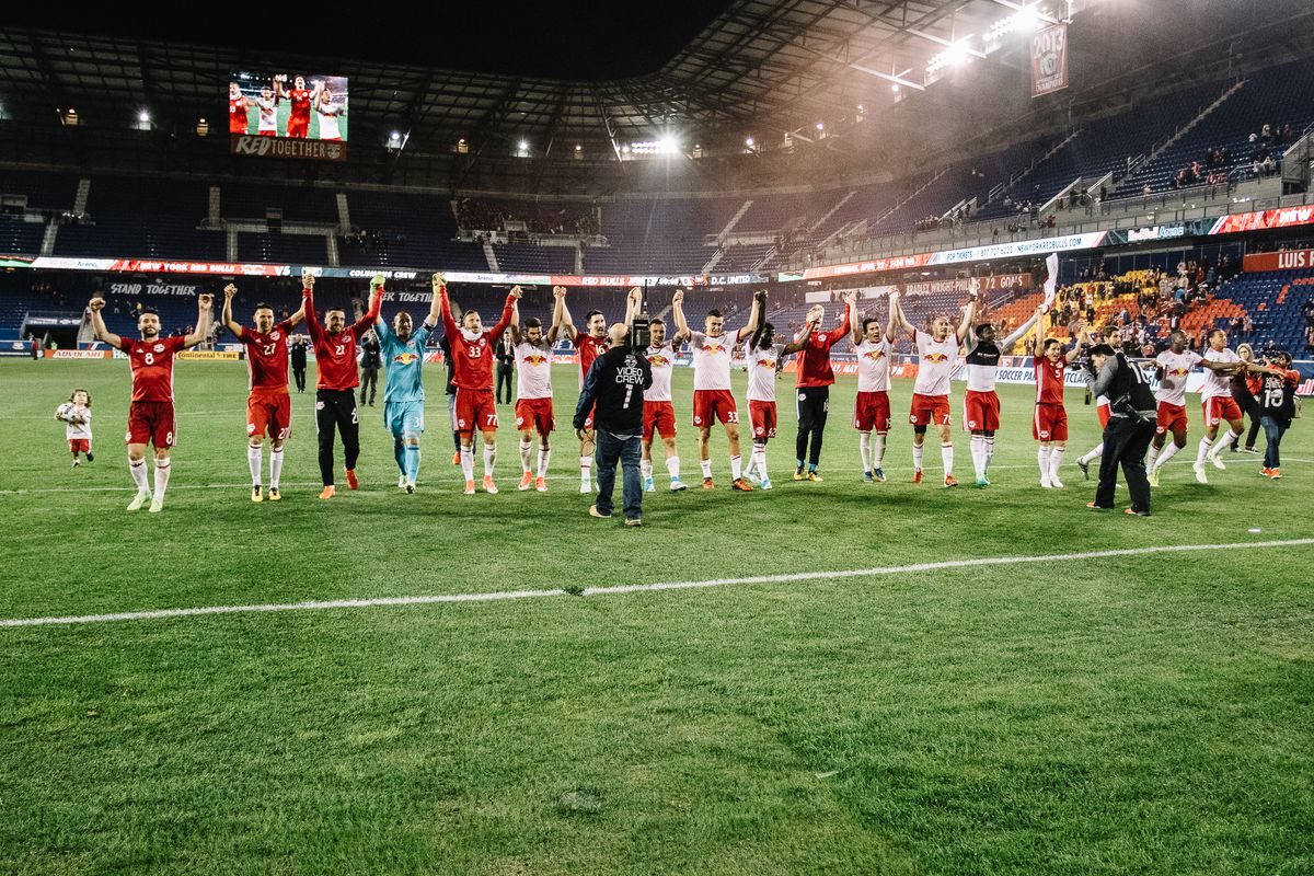 New York Red Bulls acknowledge their fans at Red Bull Arena; April 15, 2017