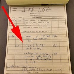 A reproduction of the lab's log--arrow points to the entry for 10/29