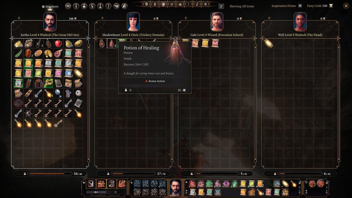 The potion tooltip information in Baldur's Gate 3