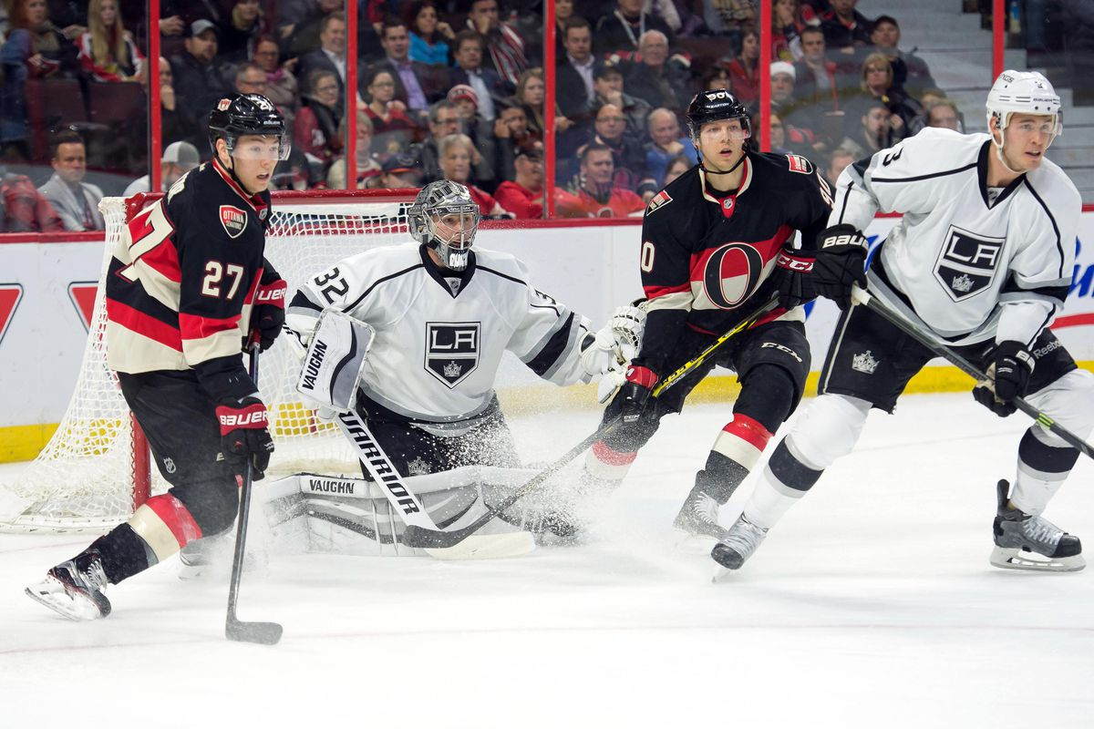 Lazar and Chiasson look for a tip during the LA Kings last trip to Ottawa
