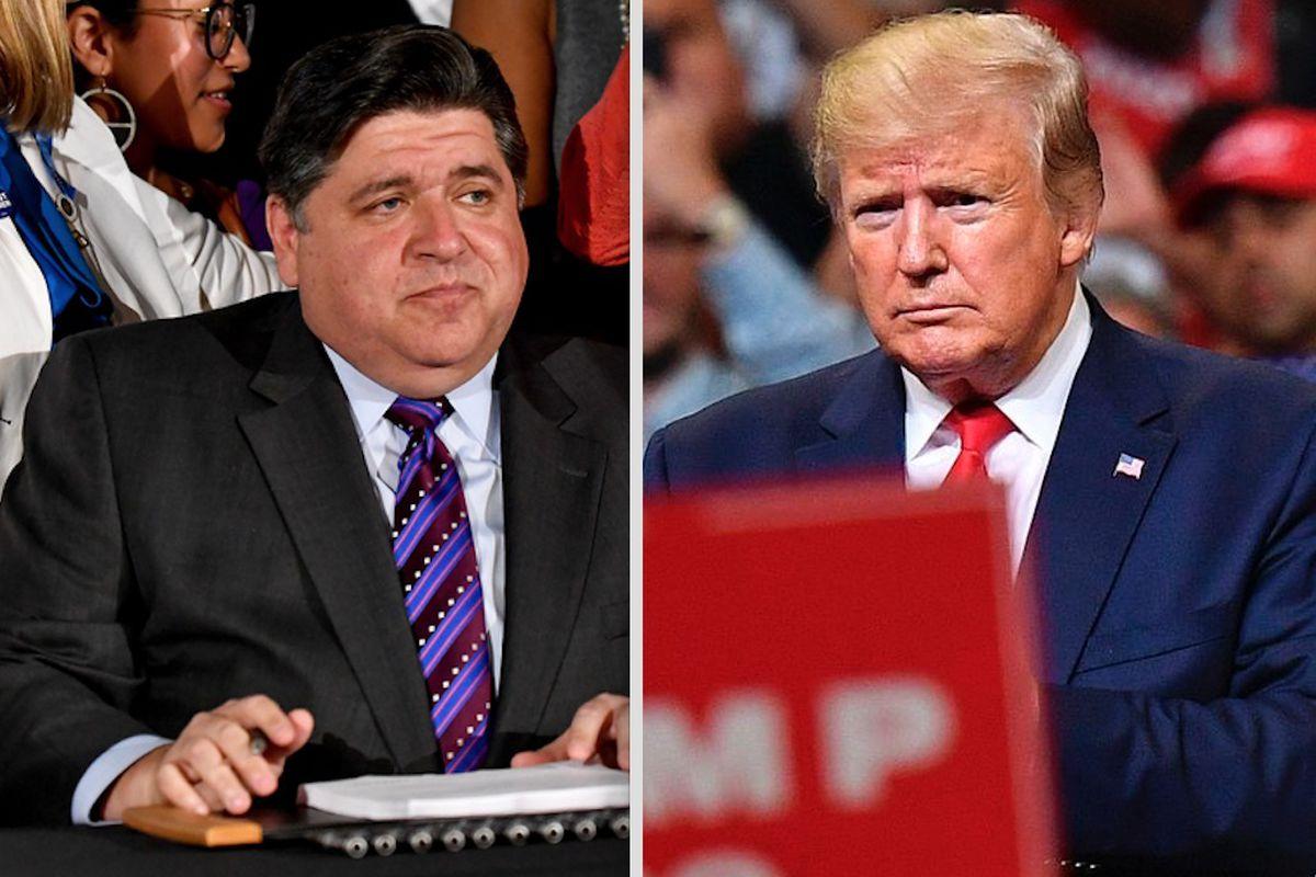 Gov. J.B. Pritzker, left; President Donald Trump, right. File Photos.
