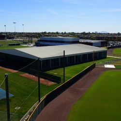 Aerial view of batting cage building