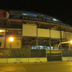 5:59 p.m. A wider view, showing the front of the ballpark -