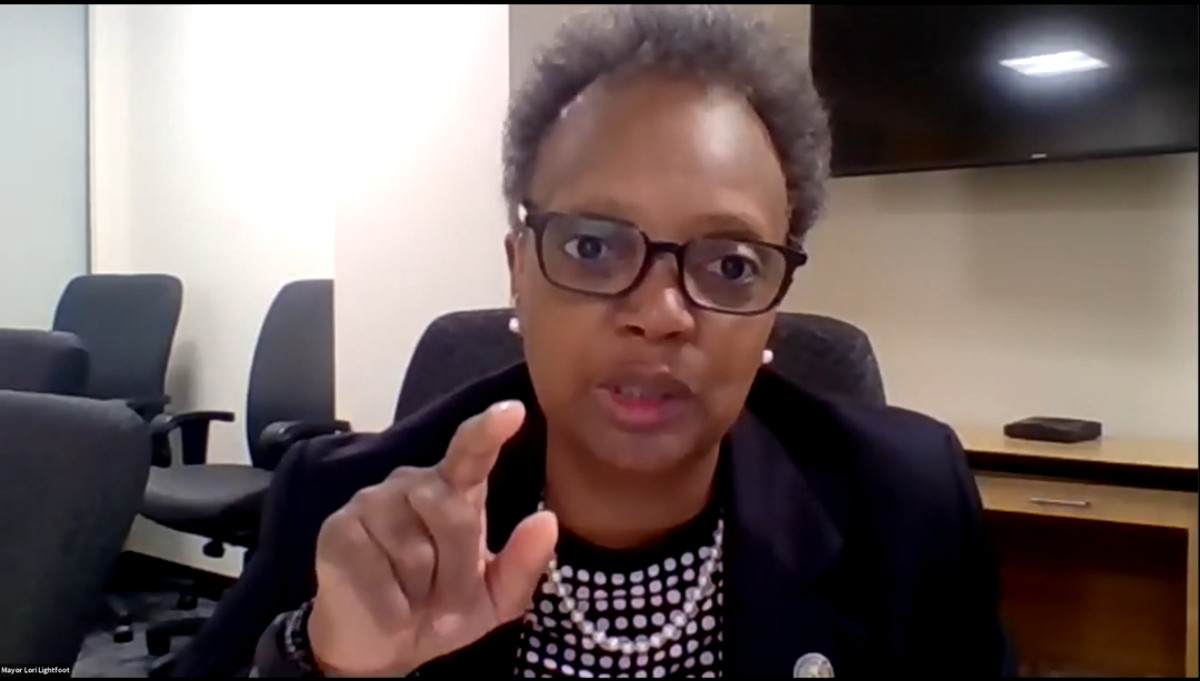 """Mayor Lori Lightfoot speaks Tuesday at an online event unveiling """"Yield Chicago,"""" an initiative to help developers of color break into the predominantly white commercial development industry."""
