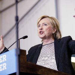 Democratic presidential candidate Hillary Clinton gives a speech on the economy after touring Futuramic Tool & Engineering in Warren, Mich., on Thursday, Aug. 11, 2016.