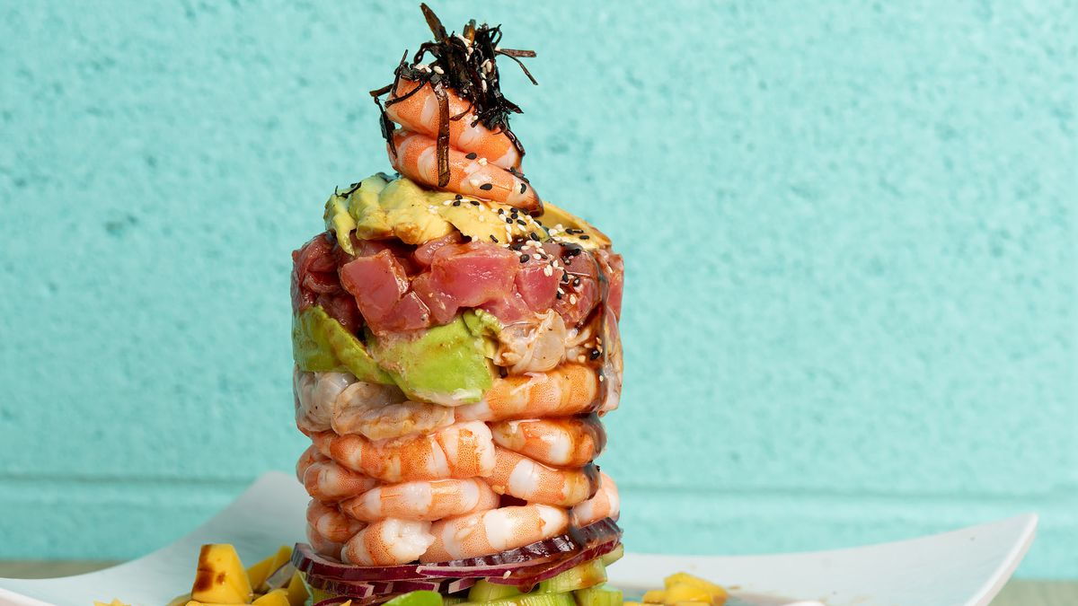 A Mexican seafood ceviche with shrimp, avocado and fish.