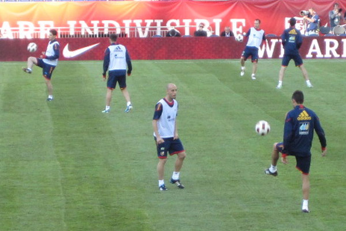 Borja Valero during today's training
