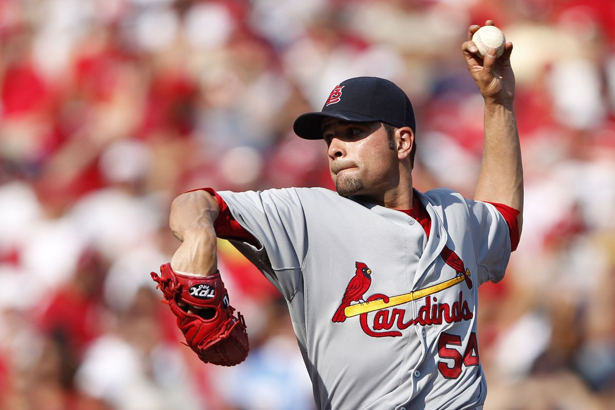 Aug 25, 2012; Cincinnati, OH, USA; St. Louis Cardinals starting pitcher Jaime Garcia (54) pitches during the first inning against the Cincinnati Reds at Great American Ball Park. Mandatory Credit: Frank Victores-US PRESSWIRE