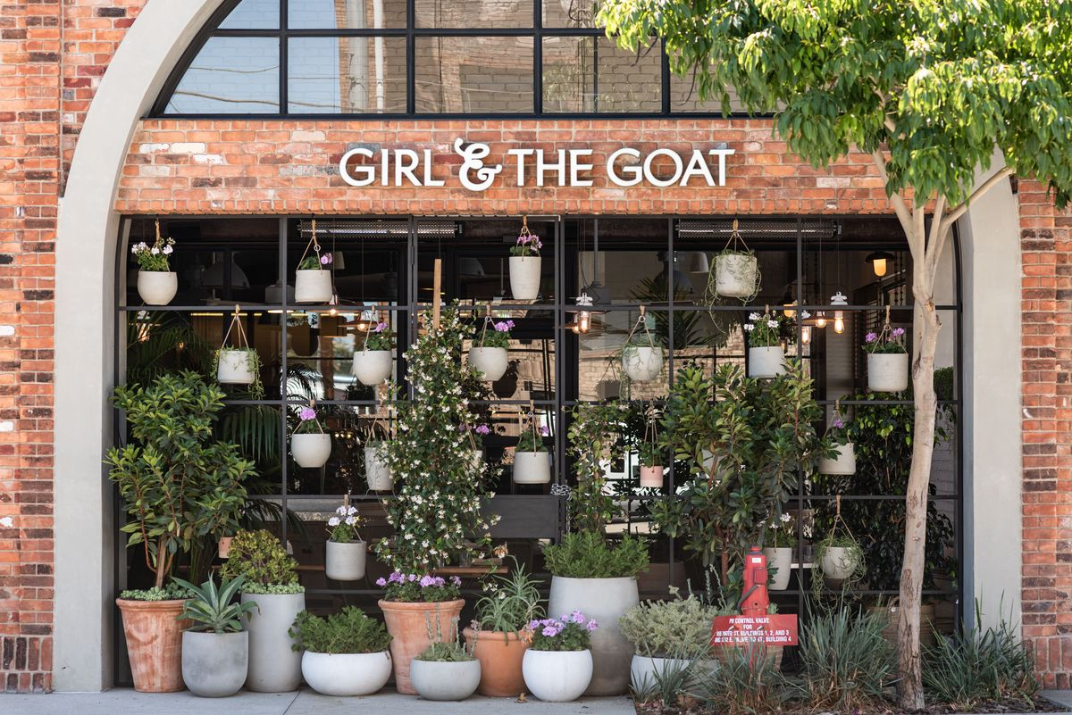 A plant wall outside of a new restaurant named Girl and the Goat.