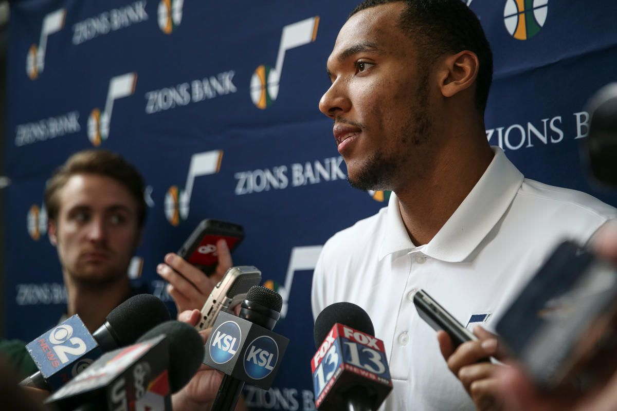 Joel Bolomboy, formerly of Weber State, talks to reporters during a press event introducing new Utah Jazz players at Vivint Smart Home Arena in Salt Lake City on Wednesday, June 29, 2016.