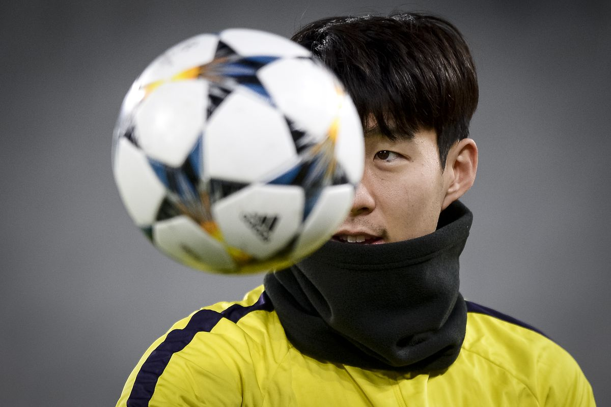 Son Heung-Min of Tottenham Hotspur FC eyes the ball during a...