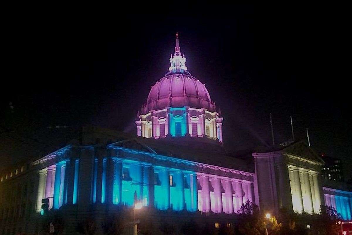 Image result for San francisco city hall in trans pride flag colors
