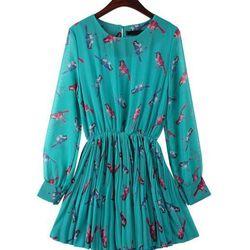 "<a href=""http://www.yesstyle.com/en/time-x9-bird-print-pleated-chiffon-dress/info.html/pid.1030439891"">Time/X9 chiffon bird print dress</a>, $72, yesstyle.com"