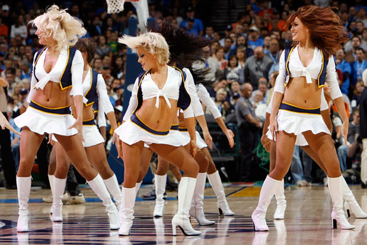 """The Thunder Girls seem lucky so far, with Oklahoma City making a great draft pick in James Harden. Let's hope the luck continues. Image via <a href=""""http://blog.newsok.com/photo/files/2008/10/thunder13.jpg"""">blog.newsok.com</a>."""