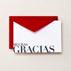 """<a href=""""http://www.crane.com/product/letterpress-fluorescent-white-muchas-gracias-cards/CT3131""""> Crane & Co. flourescent white letter press Muchas Gracias cards</a>, $18 for set of 10 crane.com"""