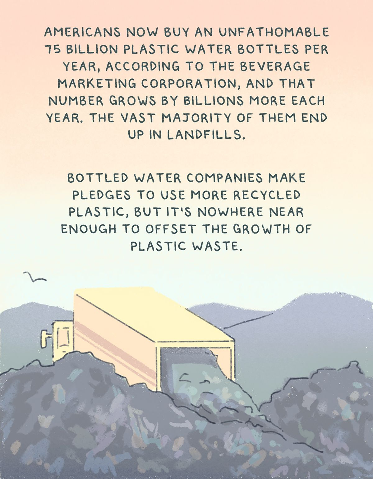 """""""Americans now buy an unfathomable 75 billion plastic water bottles per year, according to the Beverage Marketing Corporation, and that number grows by billions more each year. The vast majority of them end up in landfills. Bottled water companies make pledges to use more recycled plastic, but it's nowhere near enough to offset the growth of plastic waste."""" Drawing of a garbage dump."""