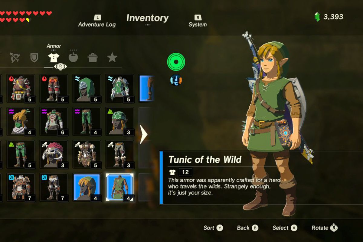 You can unlock Link's classic green tunic in The Legend of