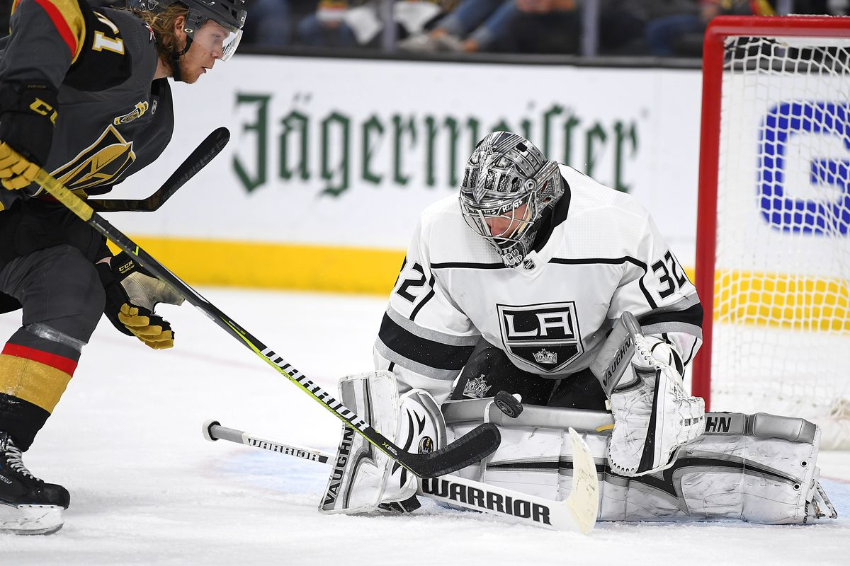 Apr 13, 2018; Las Vegas, NV, USA; Los Angeles Kings goaltender Jonathan Quick (32) stops a second period scoring chance by Vegas Golden Knights center William Karlsson (71) in game two of the first round of the 2018 Stanley Cup Playoffs at T-Mobile Arena.