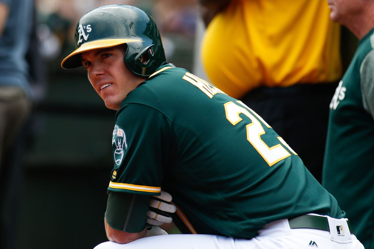 Sep 6, 2017; Oakland, CA, USA; Oakland Athletics designated hitter Ryon Healy (25) during the game against the Los Angeles Angels in the first inning at Oakland Coliseum. Mandatory Credit: Stan Szeto-USA TODAY Sports