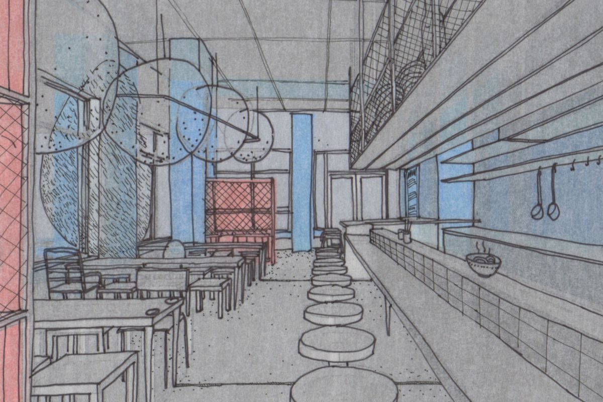 A rendering of Otaku Ramen's interior.