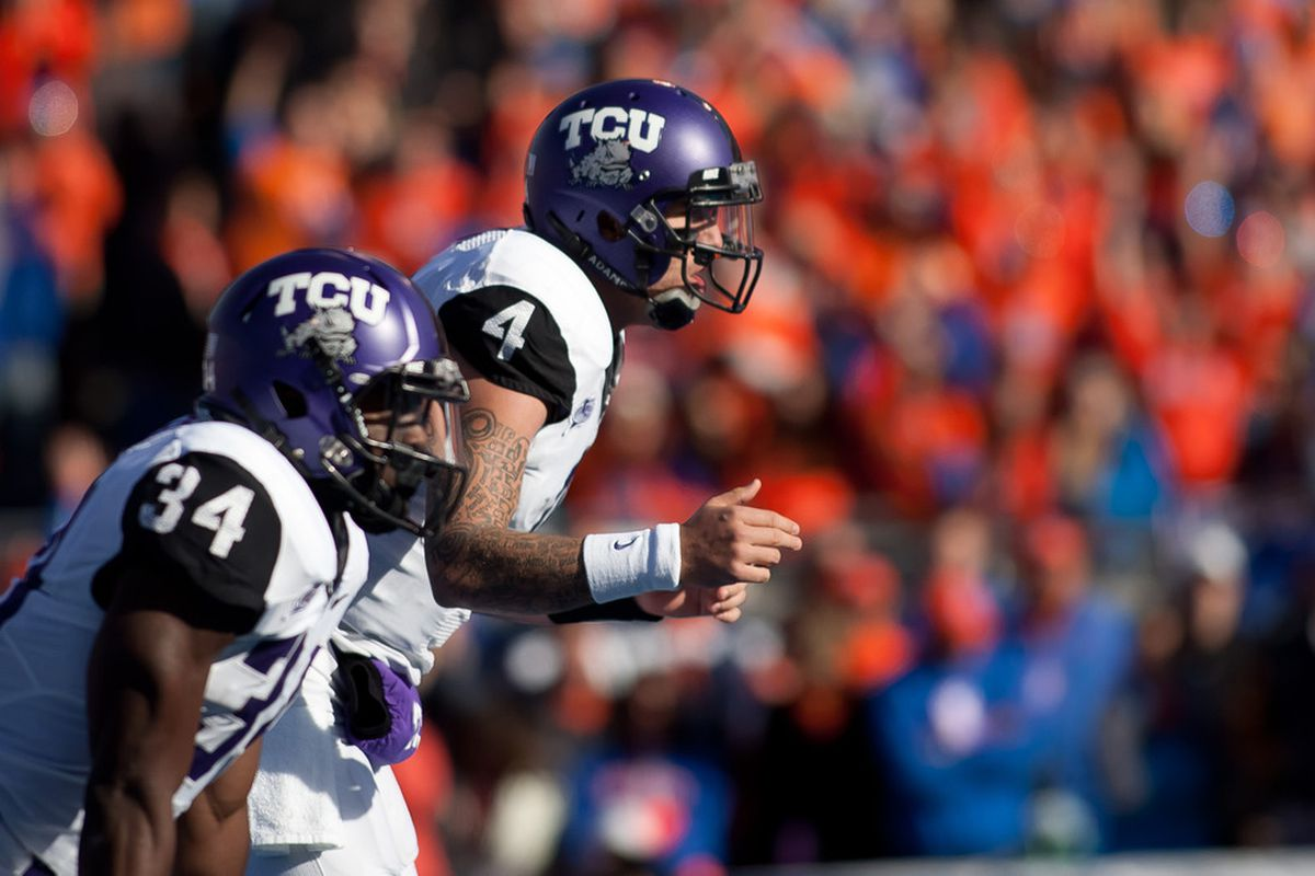 BOISE, ID - NOVEMBER 12:  Casey Pachall #4 of the TCU Horned Frogs calls for the snap during the game against the Boise State Broncos at Bronco Stadium on November 12, 2011 in Boise, Idaho.  (Photo by Otto Kitsinger III/Getty Images)