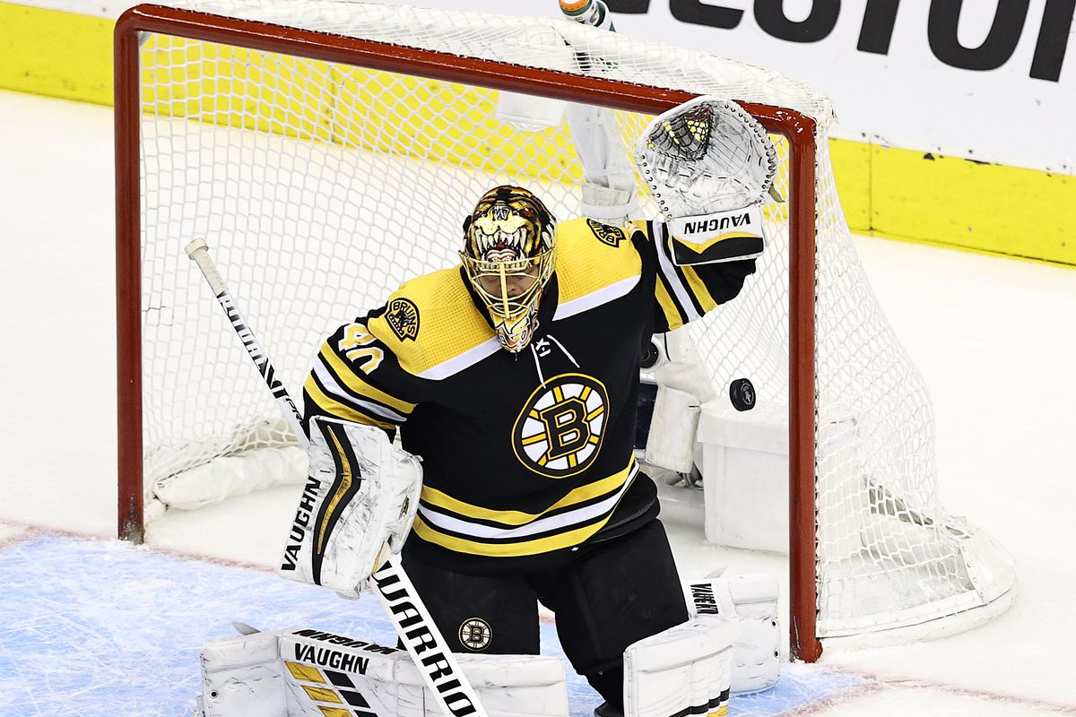 Tuukka Rask of the Boston Bruins allows a goal to Dougie Hamilton (not pictured) of the Carolina Hurricanes during the third period in Game Two of the Eastern Conference First Round during the 2020 NHL Stanley Cup Playoffs at Scotiabank Arena on August 13, 2020 in Toronto, Ontario.