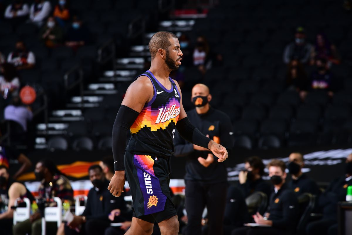 Chris Paul of the Phoenix Suns looks on during the game against the Boston Celtics on February 7, 2021 at Talking Stick Resort Arena in Phoenix, Arizona.